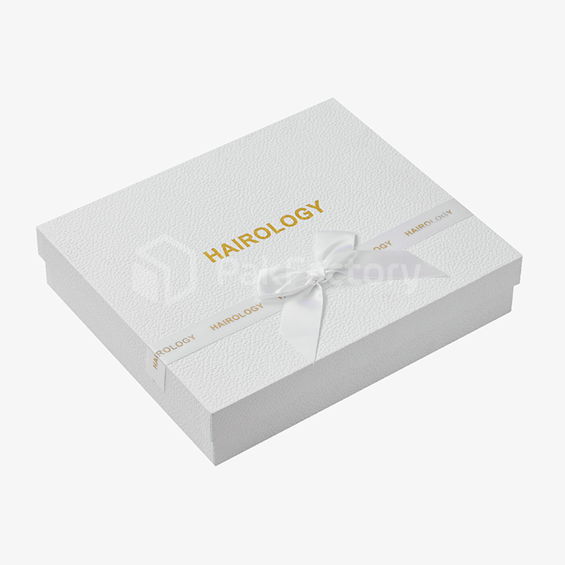 White & Gold Texture Hair Box with Insert